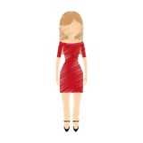 Drawing avatar woman red dress and high heel shoes. Illustration eps 10 Stock Images
