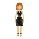 Drawing avatar woman wearing black skirt shirt model. Illustration eps 10 Royalty Free Stock Photography