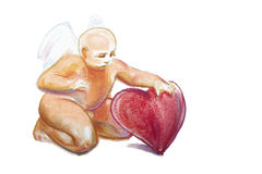 Drawing of baby cupid with angel wings by pastel Royalty Free Stock Photo