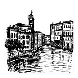 Drawing background cityscape in Venice sketch  illust Royalty Free Stock Images