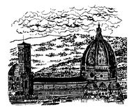Drawing background landscape view of the Duomo, the Cathedral of Santa Maria del Fiore in Florence, sk. Drawing background landscape view of the Duomo, the Stock Images