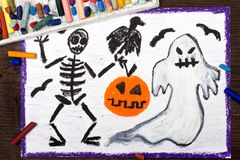 Drawing: Bad ghost, skeleton, pumpkin and raven. Halloween drawing: Bad ghost, skeleton, pumpkin and raven Royalty Free Stock Photos