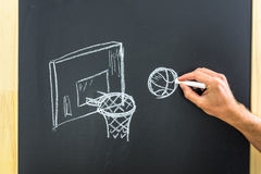 Drawing basketball goal. Closeup of male hand drawing basketball goal and ball on black board royalty free stock photos