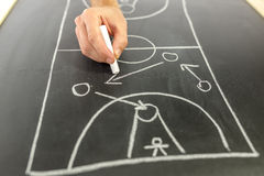 Drawing basketball strategy. Closeup of basketball coach drawing game strategy on black board Royalty Free Stock Image