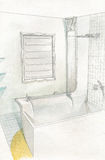 Drawing bathroom interior Royalty Free Stock Photography