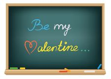 Drawing be my valentine by a chalk Stock Photo