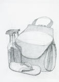 Drawing of beach objects composition Royalty Free Stock Photo