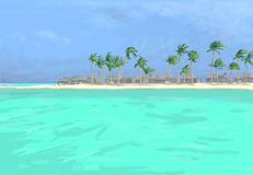 Drawing of beach and palms Stock Photo