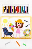 Drawing: beach vacation. Smiling girl with ice cream, lifebuoy and deck chair. Colorful drawing: beach vacation. Smiling girl with ice cream, lifebuoy and deck royalty free stock images
