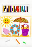 Drawing: beach vacation. Smiling sun, ice cream, lifebuoy and sun umbrella. Colorful drawing: beach vacation. Smiling sun, ice cream, lifebuoy and sun umbrella stock photo