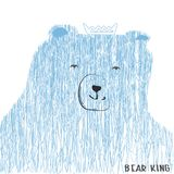 Drawing of a bear with a crown of fine shading in blue tones. Drawing of a sleeping bear with a pillow of thin shading in blue tones Stock Images