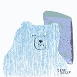 Drawing of a bear with a crown of fine shading in blue tones. Drawing of a sleeping bear with a pillow of thin shading in blue tones Stock Photo
