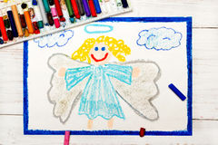 Drawing: Beautiful angel with curly hair