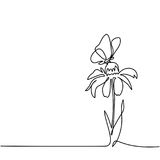 Drawing of beautiful flower with butterfly Royalty Free Stock Images