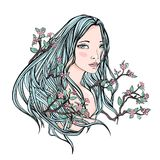 Drawing of a beautiful girl with long floral hair on a white background. Pale skin and blue hair with flowers and stock illustration