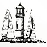 Drawing of a beautiful stone lighthouse on an island, among moored yachts during a regatta, hand-drawn vector illustration. Drawing of a beautiful stone Stock Photos