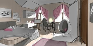 Drawing of a bedroom. Color tablet drawing of a bedroom stock illustration