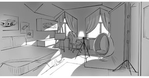 Drawing of a bedroom. Monochrone tablet drawing of a bedroom royalty free illustration