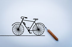 Drawing of bicycle on white background Royalty Free Stock Images