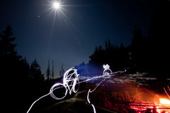 Drawing bicyclist with fire light Royalty Free Stock Photography