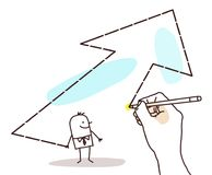 Drawing Big Hand - Cartoon Businessman and Big Arrow Stock Photography