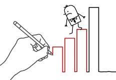 Drawing big hand and cartoon businessman - climbing down Royalty Free Stock Photos