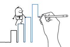 Drawing big hand and cartoon businessman - climbing up Stock Photography