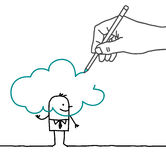 Drawing big hand and cartoon businessman - in the Cloud royalty free stock photo