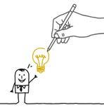 Drawing big hand and cartoon businessman - new idea ! Royalty Free Stock Image