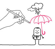 Drawing big hand and cartoon character - rain protection stock photography