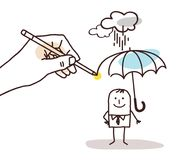 Drawing Big Hand - Cartoon Man with Umbrella. Vector Drawing Big Hand - Cartoon Man with Umbrella Stock Image