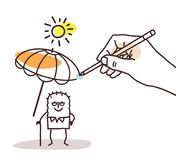 Drawing Big Hand - Cartoon Old Man with Parasol Stock Photo