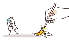 Drawing Big Hand - Cartoon Walking Man and Banana Peel Stock Images