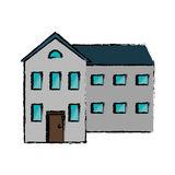 Drawing big house and many windows Royalty Free Stock Image