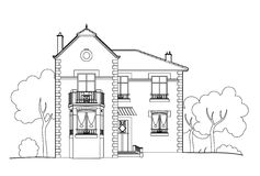 Drawing big house. Vector illustration of a big house, file EPS 8 Royalty Free Illustration