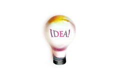 Drawing of big idea light bulb Stock Images