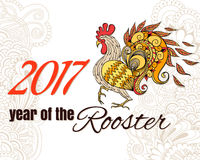 Drawing of the bird. The symbol of the chinese new year of roos Royalty Free Stock Image
