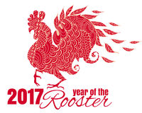 Drawing of the bird. The symbol of the chinese new year of roost Royalty Free Stock Photo