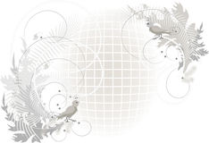 Drawing with birds and butterfly on volume grid.Gr Royalty Free Stock Images