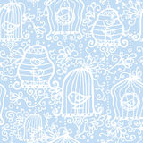 Drawing of birds in cages seamless pattern Royalty Free Stock Photography