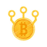 Drawing bitcoin web icon Royalty Free Stock Images