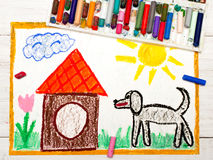 Drawing: black big dog and doghouse. Colorful drawing: black big dog and doghouse Stock Photo