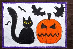 Drawing: Black cat, bad pumpkin and flying bats. Halloween drawing: Black cat, bad pumpkin and flying bats stock images