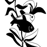 Drawing black and white fish Stock Photography