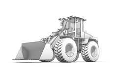 Drawing: black-and-white sketch of excavator Royalty Free Stock Image