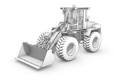 Drawing: black-and-white sketch of excavator Royalty Free Stock Photography