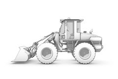 Drawing: black-and-white sketch of excavator Royalty Free Stock Photo