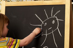 Drawing on a blackboard. Little girl drawing a sun on a blackboard Stock Image