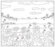 Drawing the blooming field drawn, daisies and clouds Royalty Free Stock Photography