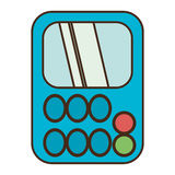 Drawing blue calculator class supplie school Royalty Free Stock Images